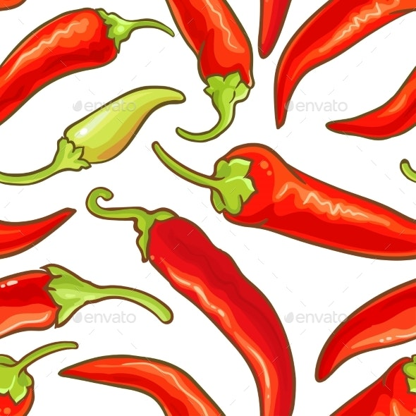 Cayenne Pepper Vector Seamless Pattern - Food Objects