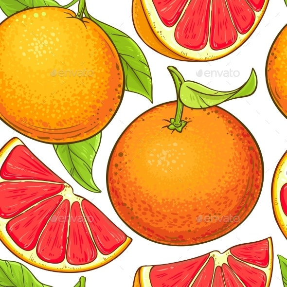 Grapefruit Fruits Vector Pattern - Food Objects