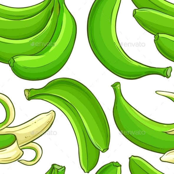 Green Banana Fruit Vector Pattern - Food Objects