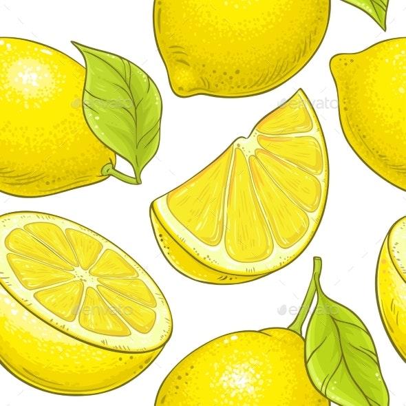 Lemon Fruit Vector Pattern on White Background - Food Objects