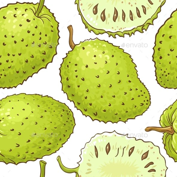 Soursop Fruits Vector Pattern on White Background