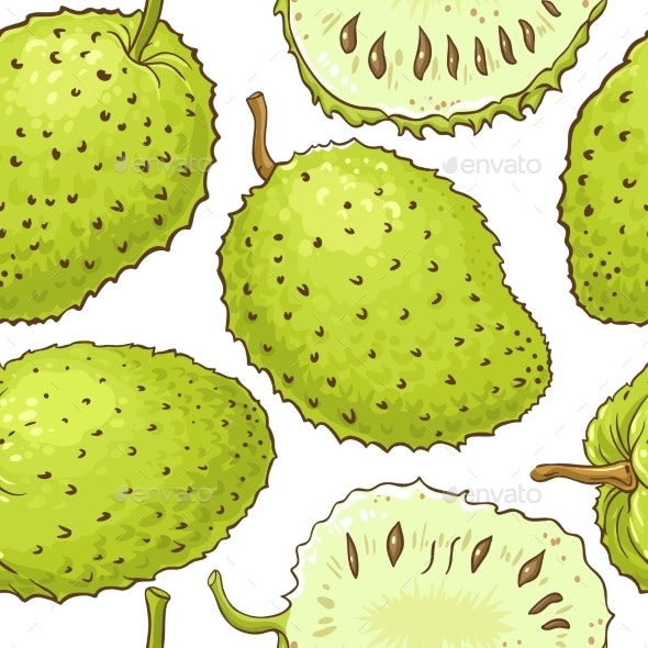 Soursop Fruits Vector Pattern on White Background - Food Objects