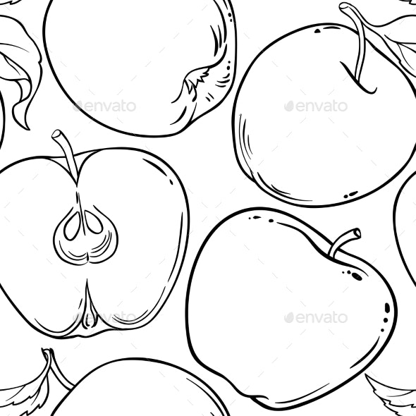 Apple Fruit Vector Pattern on White Background - Food Objects