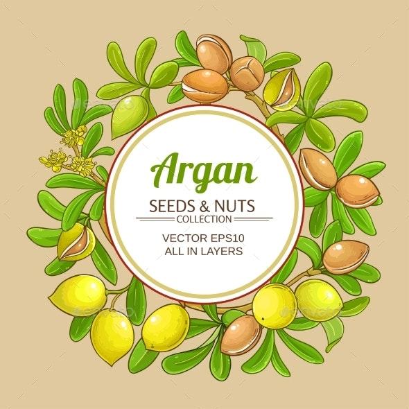 Argan Branches Vector Frame on Color Background - Health/Medicine Conceptual