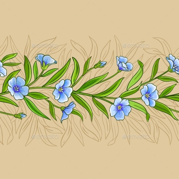 Flax Plant Vector Pattern on Color Background - Health/Medicine Conceptual