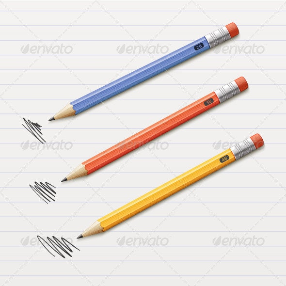 Vector Illustration of 3 pencils - Man-made Objects Objects