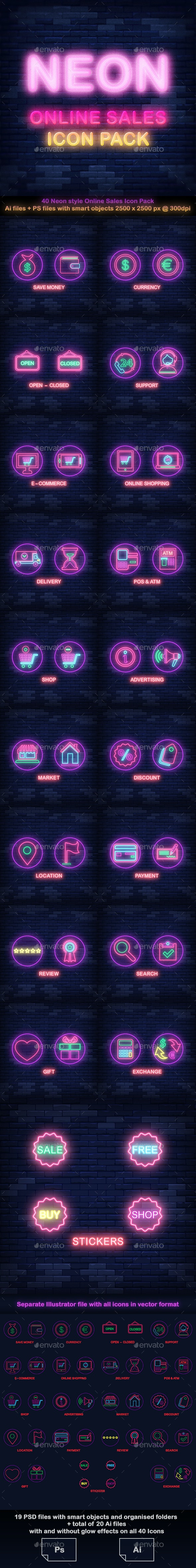 Neon Online Sales Icon Pack - Icons