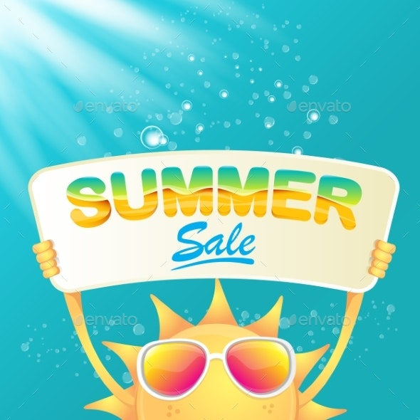 Vector Summer Happy Sun Holding Sale Offer Sign - Retail Commercial / Shopping