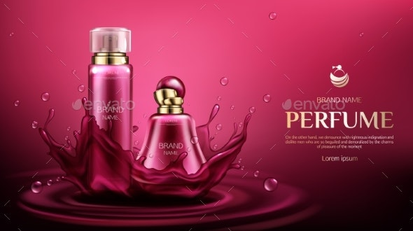 Perfume Deodorant Bottles on Water Splash Backdrop - Health/Medicine Conceptual