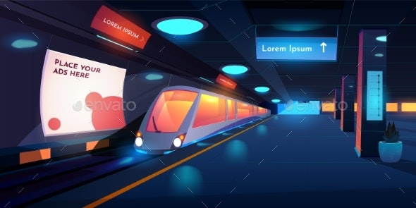 Train in Metro Station at Night Time Platform - Travel Conceptual