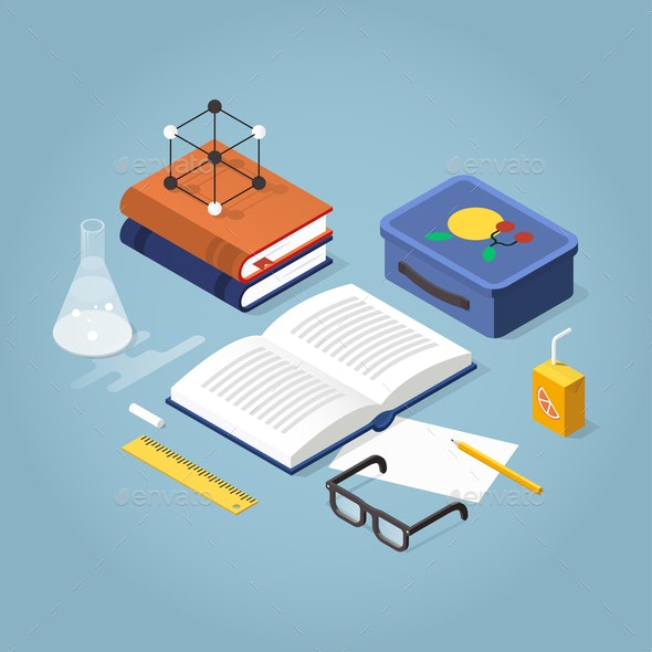 School Homework Isometric Illustration - Miscellaneous Vectors