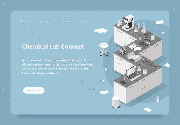 Chemical Lab Concept Landing Page - Miscellaneous Vectors