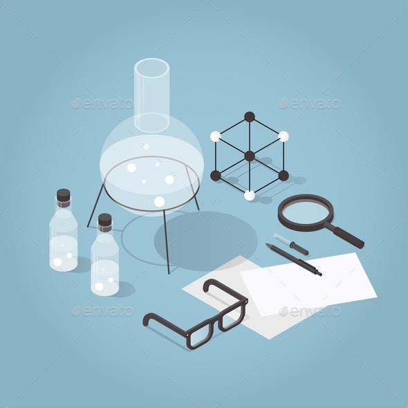 Isometric Chemical Laboratory Illustration - Miscellaneous Vectors