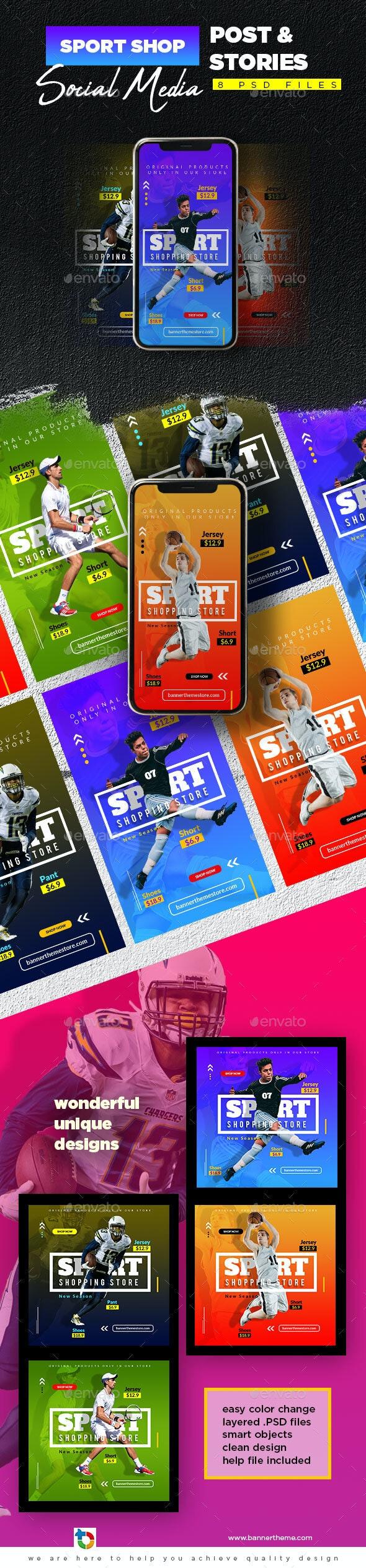 Sport Shop Social Media Post & Stories - Social Media Web Elements