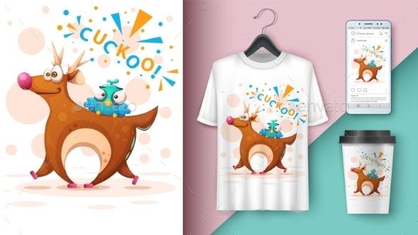 Cartoon Deer with Bird - Mockup for Your Idea - Animals Characters