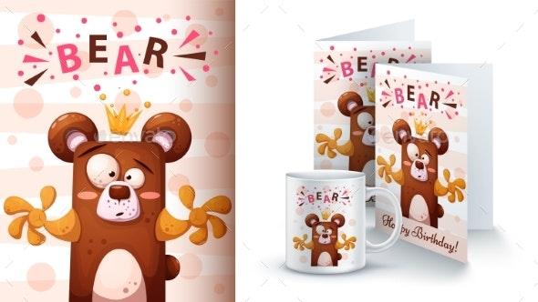 Cartoon Bear - Mockup for Your Idea - Animals Characters
