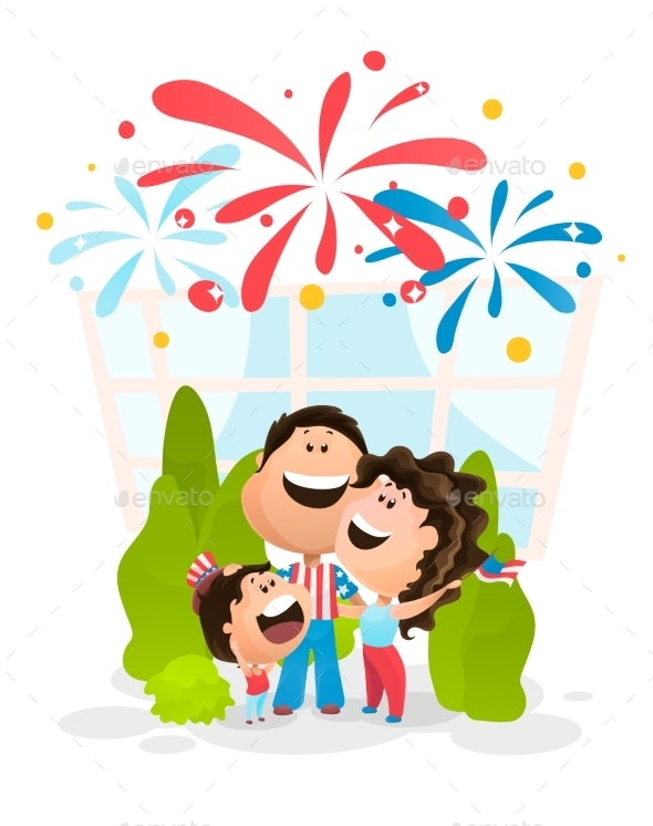 Family Watching the Fireworks - Miscellaneous Seasons/Holidays