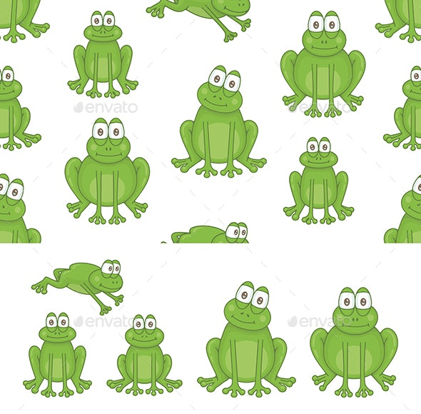 Set of Frogs and Pattern - Animals Characters