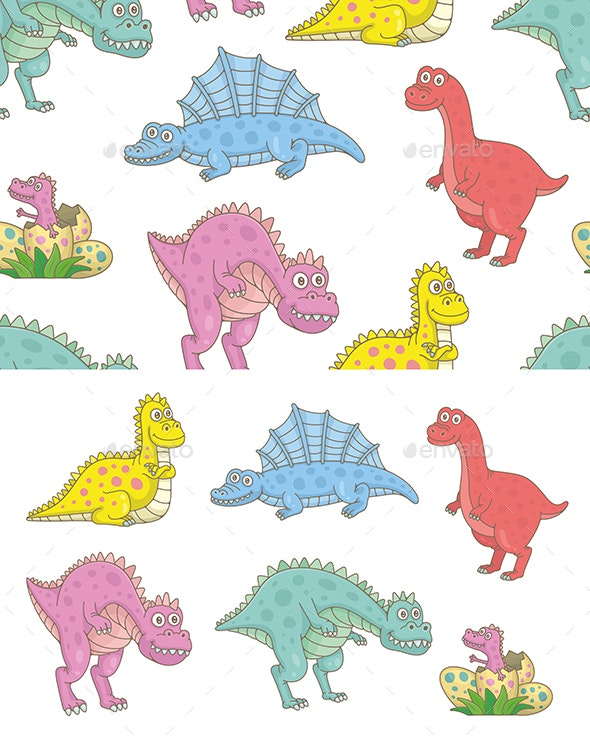 Set of Dinosaurs and Pattern - Animals Characters