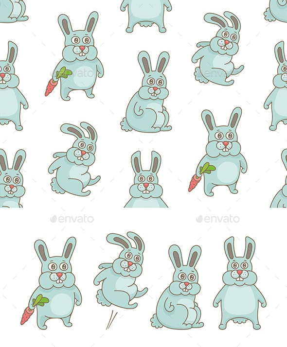 Set of Rabbits and Pattern - Animals Characters