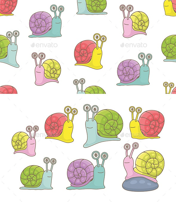 Set of Snails and Pattern - Animals Characters