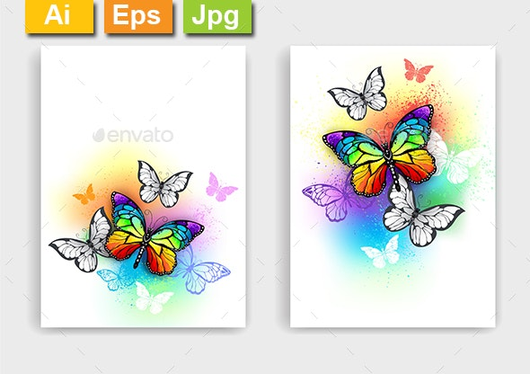 Design with Rainbow Butterflies - Animals Characters