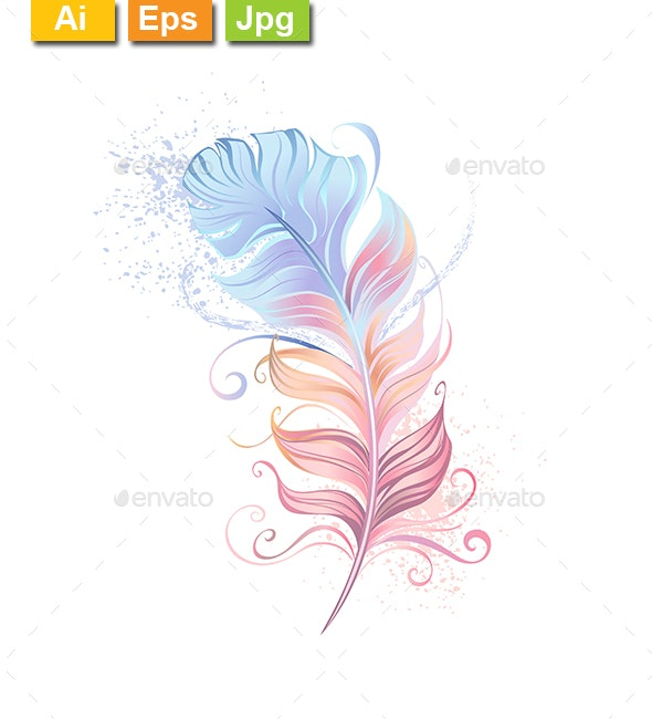 Fluffy Powder Feather - Decorative Symbols Decorative