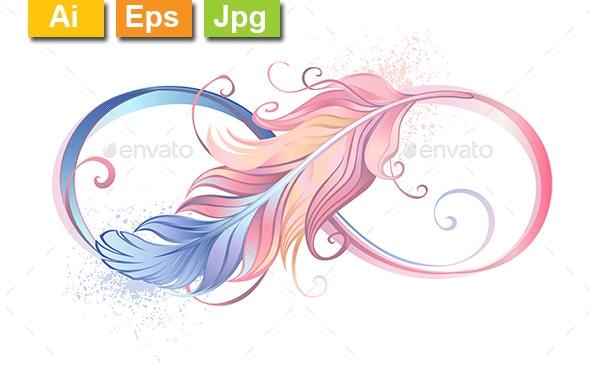 Infinity Symbol with Pink Feather - Decorative Symbols Decorative