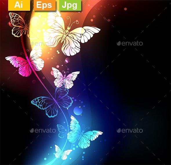 Fabulous Night Butterflies - Abstract Conceptual