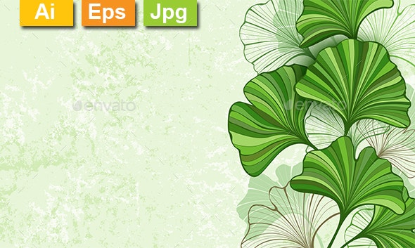 Green Background with Leaves of Ginkgo Biloba - Backgrounds Decorative