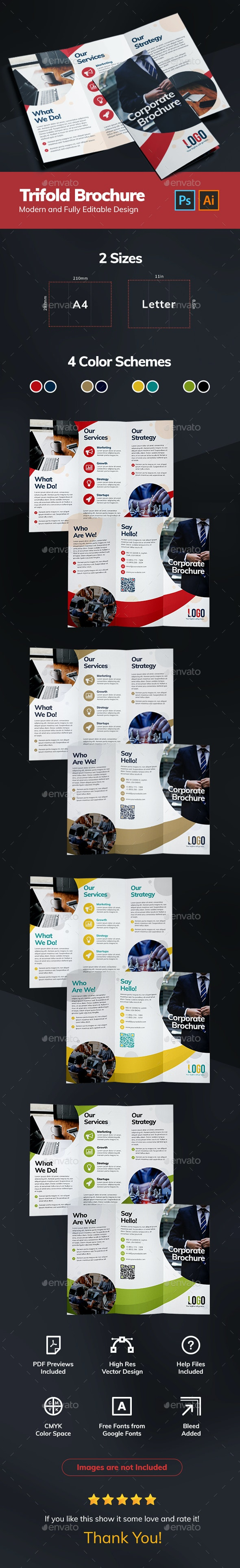 Creative Trifold Brochure - Brochures Print Templates
