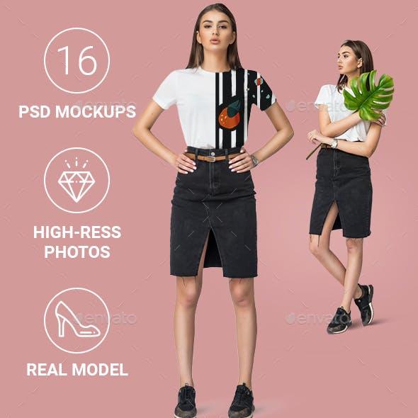 FemaleMinimalistic Tshirt Mockup Set