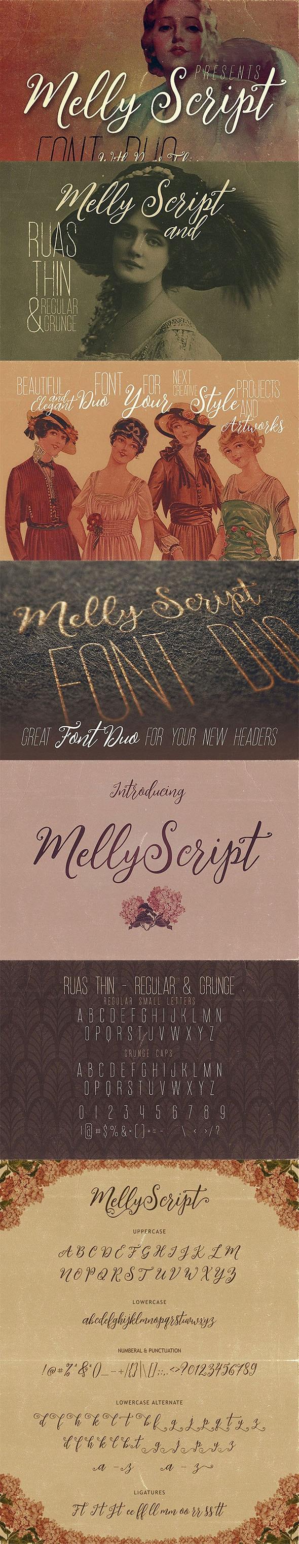 Melly Script Font Duo - Hand-writing Script