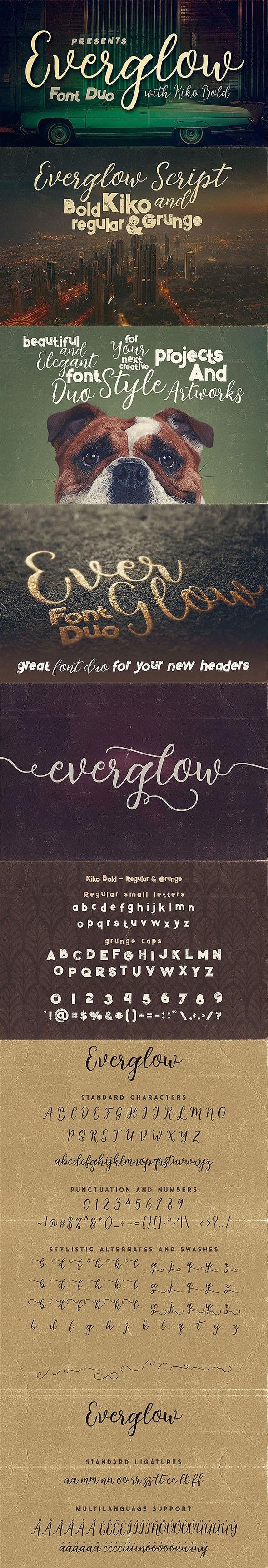 Everglow Script Font Duo - Hand-writing Script