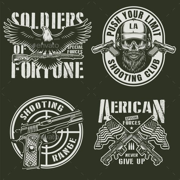 Vintage Military Emblems Set