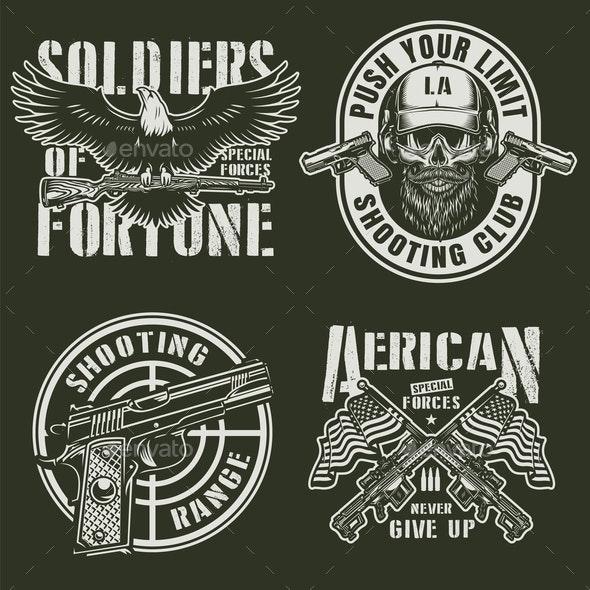 Vintage Military Emblems Set - Miscellaneous Vectors