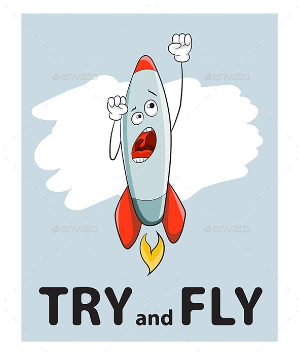 Slogan Try and Fly Rocket - Miscellaneous Characters