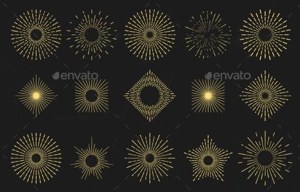 Golden Sunburst Radiant Sun Flames - Miscellaneous Vectors