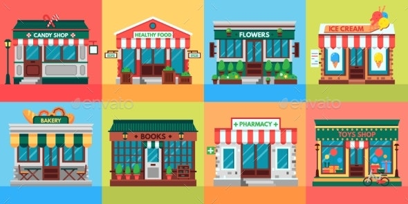 Local Shops Facades - Buildings Objects