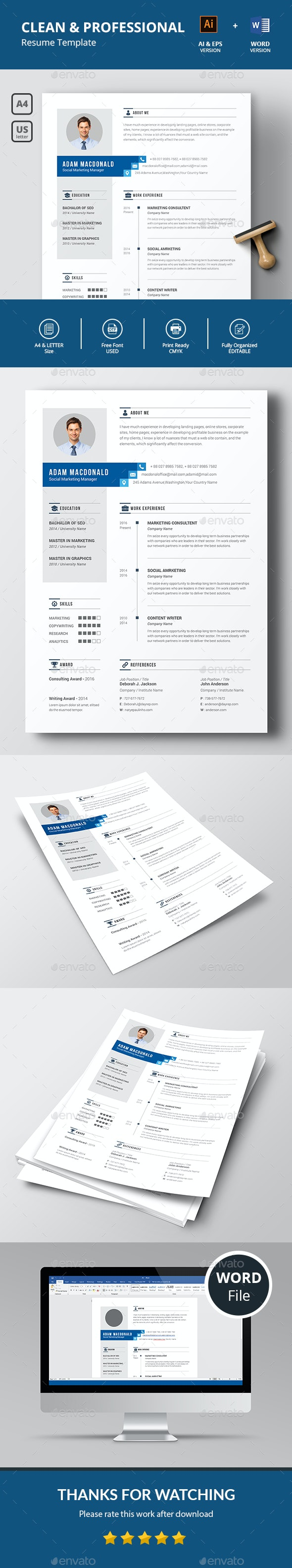 Clean Professional Resume - Resumes Stationery