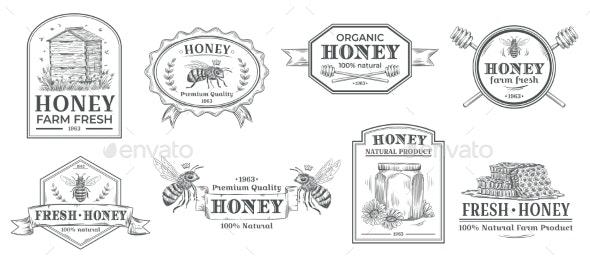 Natural Honey Badges - Miscellaneous Vectors