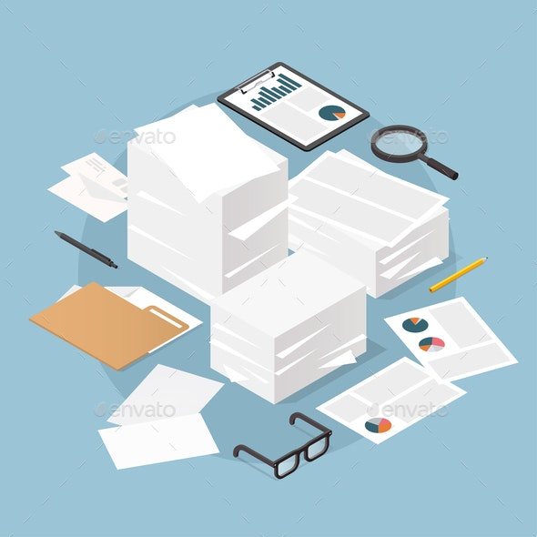 Isometric Paper Work Concept Illustration - Industries Business