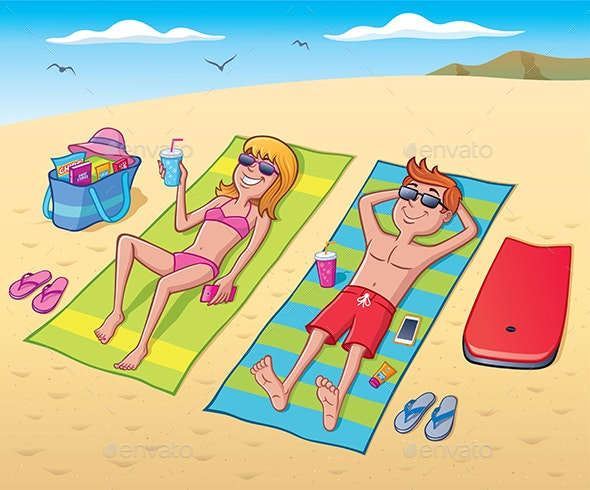 Teens Laying Out At The Beach - People Characters