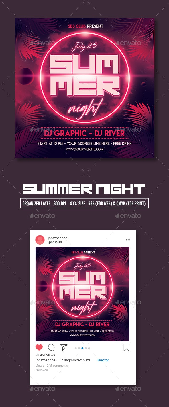 Summer Night Party Flyer Template - Clubs & Parties Events