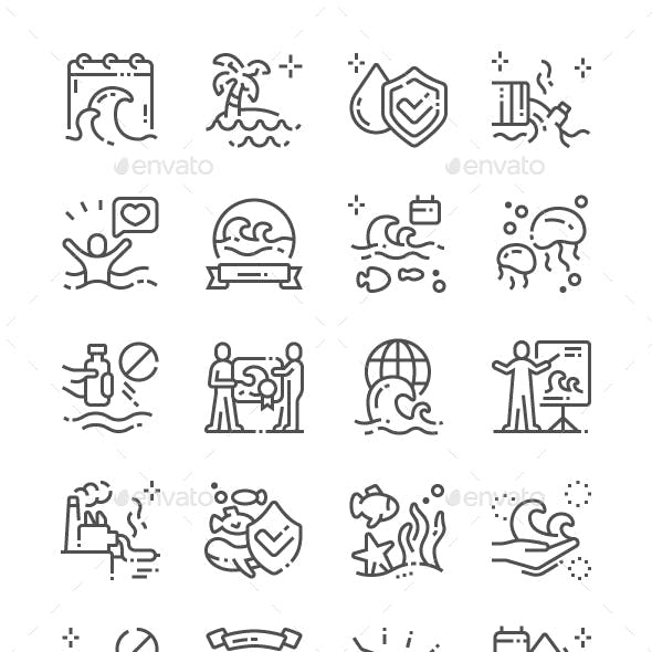 World Oceans Day Line Icons
