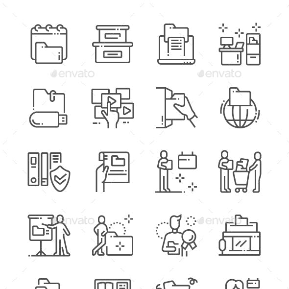 International Archives Day Line Icons