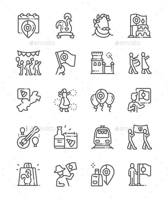 Portugal Day Line Icons - Miscellaneous Characters