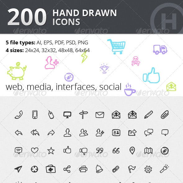 200 Hand Drawn Icons