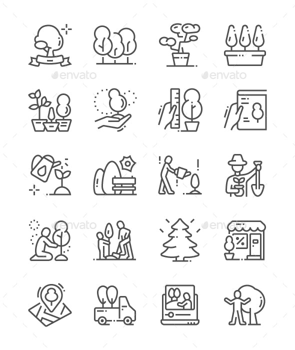 Trees Line Icons - Miscellaneous Characters