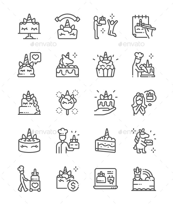 Unicorn Cake Line Icons - Miscellaneous Characters